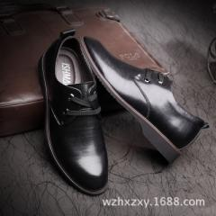 Summer leisure shoes men`s Korean version of soft skin young British leather black pointed height bu black 38