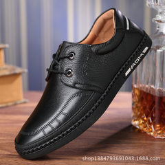 Autumn new style top layer soft leather bottom soft surface men`s casual shoes round head men`s brea black 38