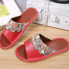 Supply hot PU home leather slippers haining factory direct selling men and women lovers home beef sl red 25 (35 and 36)