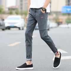 Spring and summer men`s jeans men`s small feet slim student Korean version of the nine-minute trouse 501 light grey 27