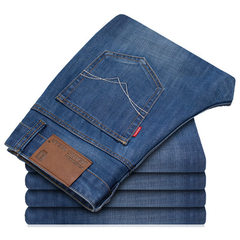 Spring and summer style jeans men`s straight casual large size loose Korean version slender summer y 816 shallow blue 28 yards (2 ft 1)