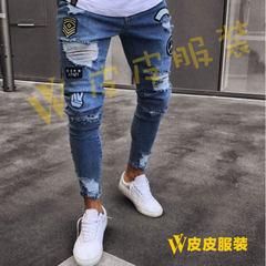 European and American jeans men`s fashion cross-border for knee hole beggar pants European hot style Light blue s.