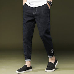 New type of jeans with nine-point trousers, men`s loose Korean version, stretch and size harem, men` black 28
