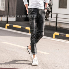 New south Korean version of the new style in 2018, slim and handsome, little foot and nine-cent men` 601 black 32