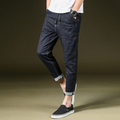 2018 spring and summer new harlan men`s jeans nine-minute trousers for young people loose fashion sm black 28