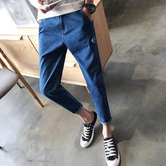 Xintang jeans 2017 spring and summer fish bone embroidery low-waist nine-point trousers male cat hea The indigo 28