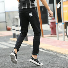 Korean version of hot style men`s jeans print youth trim and flatten small feet nine-point jeans men black 27