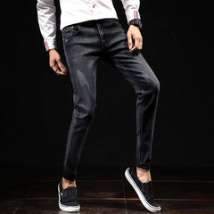 Jeans of 2017 Korean version men`s style slim trousers fashionable young men`s style men`s wear span The picture color US59 38