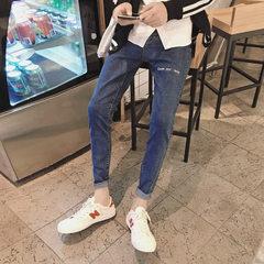 Corbyden`s new spring 2018 alphabet nine-point trousers for men, slim pant pants and trendy men`s je black 28