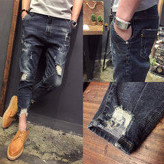 New men`s casual jeans for the four seasons of 2018, the Korean version of the broken hole trend, sl Water is blue 27