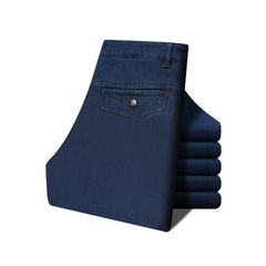 Autumn winter men`s straight tube thickening and fleece jeans comfortable denim trousers stretch hig Velvet 801 dark blue 30