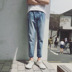 A generation hair men`s jeans stripes nine-minute trousers autumn and winter new Korean version of t blue m