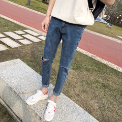 Hong Kong wind men`s clothing 2018 new summer men`s jeans broken hole nine-point trousers Korean ver blue 28