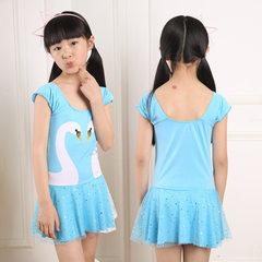 2018 new cute white swan children`s swimsuit, cartoon skirt for children and girls, integrated bathi Sky blue Average size (35 to 55 kg)