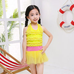 2018 new style cute princess children 2-5 years old skirt style swimsuit girls baby swimsuit wholesa yellow Average size (10-25 kg)