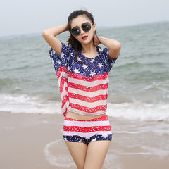 New swimsuit women Korea hot spring girls division triangle fresh students show thin manufacturers d 8752 swimsuit - navy blue Average size (80-120 kg)