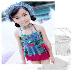 Korean version girls` swimsuit girls` split skirt swimsuit vintage floral baby swimsuit xiqi 6963 Blue flowers + purple red pants 6963 Size L is suitable for children between 6 and 7 years old