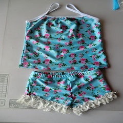 Cute baby swimsuit big bow swimsuit bikini girl Korean princess girl The blue m