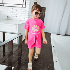 Children`s swimsuit girls` baby conjoined baby hot spring quick dry big girl holiday bathing suit ha pink M (70-90 - cm)