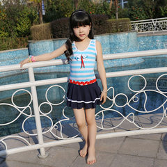 Children`s medium size. Large swimsuit, Korean version, girls` one-piece dress, children`s one-piece Blue and red L (for around 10 years old)