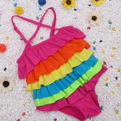 Korean version of children`s swimsuit women Korean version of the one-piece dress girls swimsuit rai Rainbow bar m