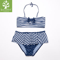 KK tree children`s swimsuit girl bikini lovely big child girl split swimsuit summer sun protection p Navy blue 110