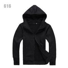 【热销全球】超人气连帽加绒卫衣男装韩版流行青少年外套37 黑色 M