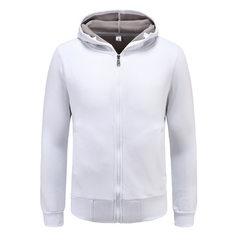 Advertising sweater custom long sleeve zipper autumn winter men`s hoodie sport coat custom class wea white s.