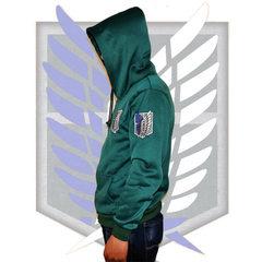 春秋季男款卫衣连帽调查兵团艾伦三笠兵长自由之翼服装进击的巨人 绿色卫衣 S