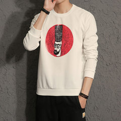 The new men`s wear for autumn 2017 is a round neck T-shirt with long sleeves printed in Hong Kong st W110 white m