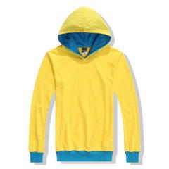 定制纯棉卫衣订做印logo帽衫长款休闲男式套头卫衣广告衫卫衣印字 黄色 S