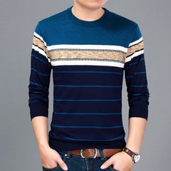 New style spring men`s sweater fashion casual young men`s sweater round neck pullover pullover botto 2013 blue 48 / M / 105