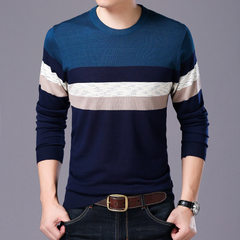 Spring new men`s long sleeve knitwear leisure and comfortable patchwork color round neck young men`s 8060 blue 48 / M / 105