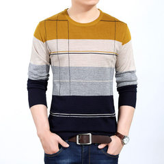 New style long-sleeved men`s sweater for spring 2018, comfortable and casual yellow 48 / M / 105