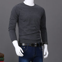 Autumn new style men`s slim sweater men`s long sleeve young round neck pullover knitted sweater soli Pure grey m