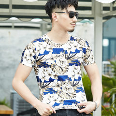Summer 2018 men`s short sleeve T-shirt men`s camouflage color short sleeve T-shirt summer men`s roun Hot style gold m