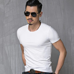 Summer men`s short sleeve T-shirt, v-neck T-shirt, slim and pure color T-shirt, men`s short sleeve a White collar m