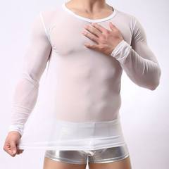 Inner cool Korean version of the slim transparent breathable round collar 2016 new casual men`s net  white m