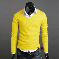 Spring and autumn foreign trade men`s wear new British style retro style 100% cotton slim knit sweat yellow m