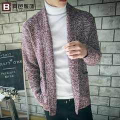 Spring new style men`s style knitting pure color simple Korean version cardigan pocket sweater windb red m