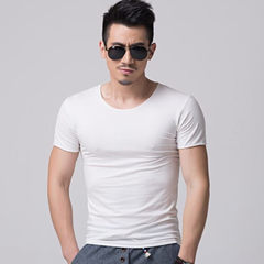 Korean version of lycra short sleeve T-shirt, Korean version of pure color v-neck slim body bottom s White collar m