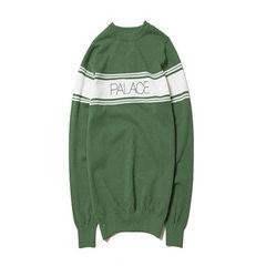 PALACE17ss 毛衣男装秋季新款学生青少年潮套头毛衫字母拼色长袖 绿色 S