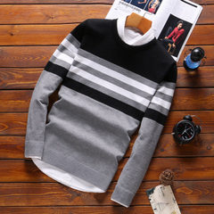 Men`s sweater spring and autumn 2017 new style Korean style fashionable personality slim knit sweate gray m