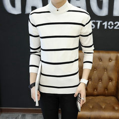 New style men`s knitwear round neck pullover men`s slim stripe patchwork long-sleeved knit sweater white M90-105 catties