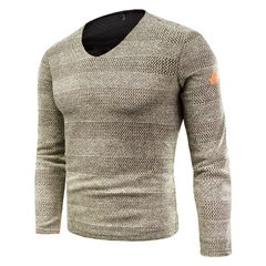 Foreign trade new popular trend of men`s pure color knit sweater long-sleeved v-neck youth with thic khaki m