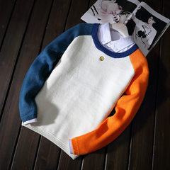 Autumn and winter lovers sweater, Korean version, head set, slim knit sweater, Japanese department,  The bell sweater is blue and grey s.