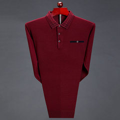 Manufacturers direct autumn and winter new men`s business casual men`s sweater pure color lapel slee red 165