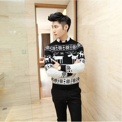 Autumn and winter thick style Korean version of slim round neck sweater men`s long-sleeve knitwear f black m