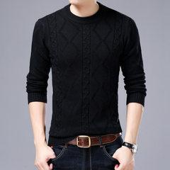 跨境专供2017秋季新款韩版男士修身毛衣 弹力加厚圆领打底针织衫 黑色 M