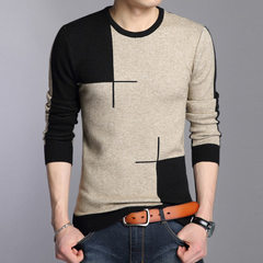 Autumn winter new men`s sweater men`s fashion casual Korean version of the round neck men`s sweater  black m